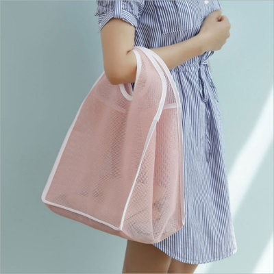 《JMALL》簡約透氣網格手提購物袋/肩背包/海灘袋