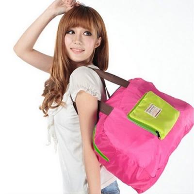 《JMALL》輕巧可摺疊收納肩包/摺疊購物袋