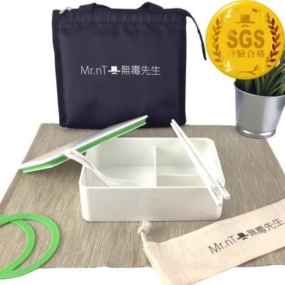【Mr.nT 無毒先生】安心無毒耐熱餐盒環保筷湯匙保溫袋組