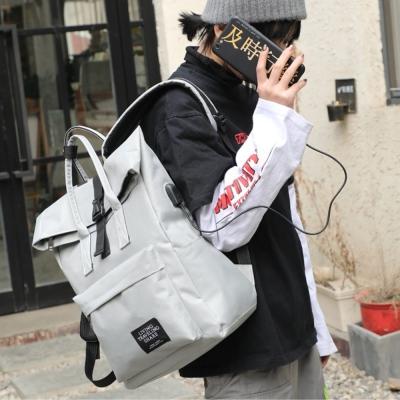 《JMALL》青春學院風可外接USB充電後背包