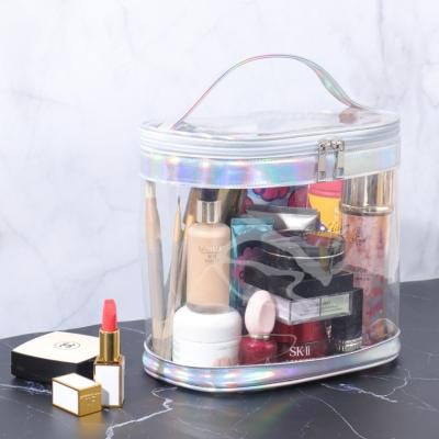 《WEEKEIGHT》簡約透明超大容量手提化妝包/盥洗包