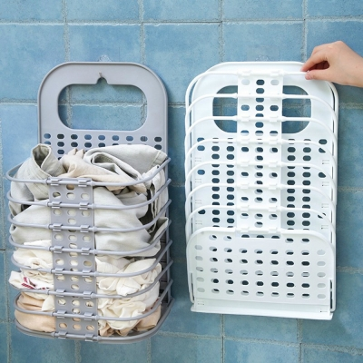 (貨未到)《JMALL》牆面免釘免鑽可折疊吊掛鏤空衣物收納籃