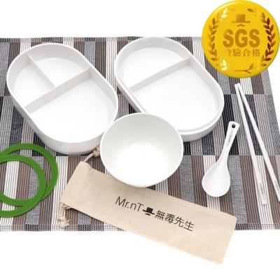 【Mr.nT 無毒先生】安心無毒學童營養午餐5格餐盤餐具組