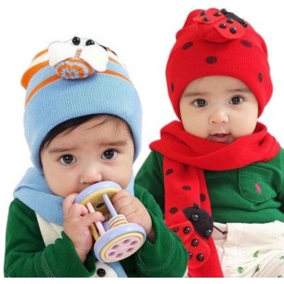 (售完停賣)《JMALL》韓版卡哇伊寶寶針織毛線帽子圍巾保暖組