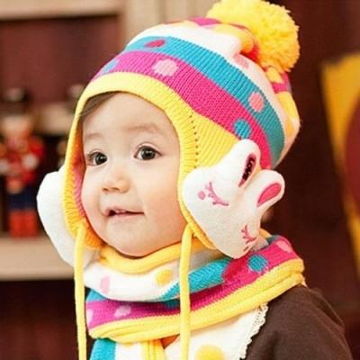 (售完停賣)《JMALL》韓版兔子毛線護耳帽子圍巾保暖組