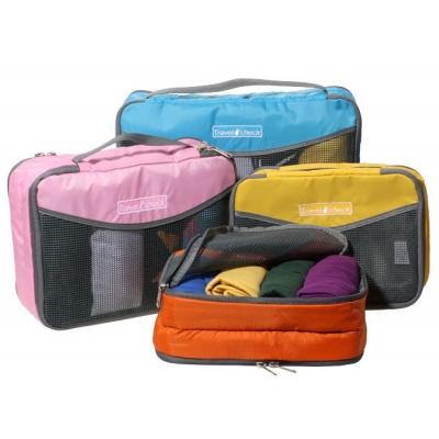 (停賣)《JMALL》清新俏麗手提雙層透氣網格收納袋/衣物整理袋(中)