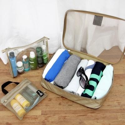 (售完停賣)《JMALL》時尚典雅旅行用網格收納袋三件套