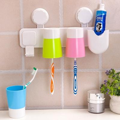 《JMALL》強力雙吸盤牙刷牙膏漱口杯放置架(含水杯)