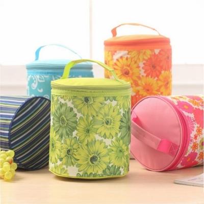 《JMALL》小清新大容量圓桶型保溫便當袋/野餐袋