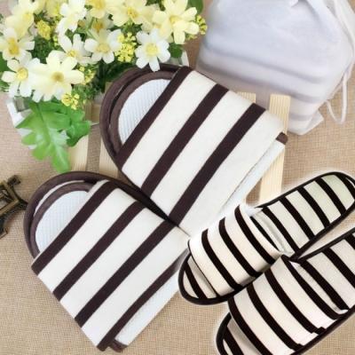 《JMALL》可水洗旅行用條紋棉布褶疊拖鞋(附收納袋)